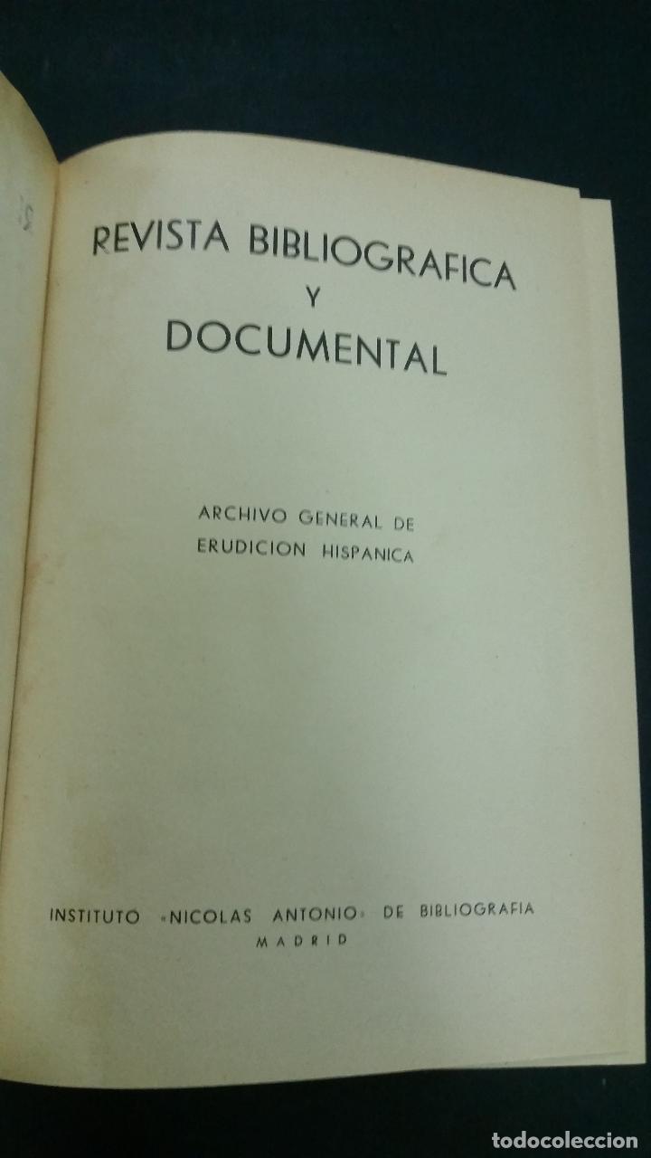 Libros de segunda mano: Revista Bibliográfica y Documental. Archivo general de erudición hispánica. Años 1947 a 1951 - Foto 3 - 269312083