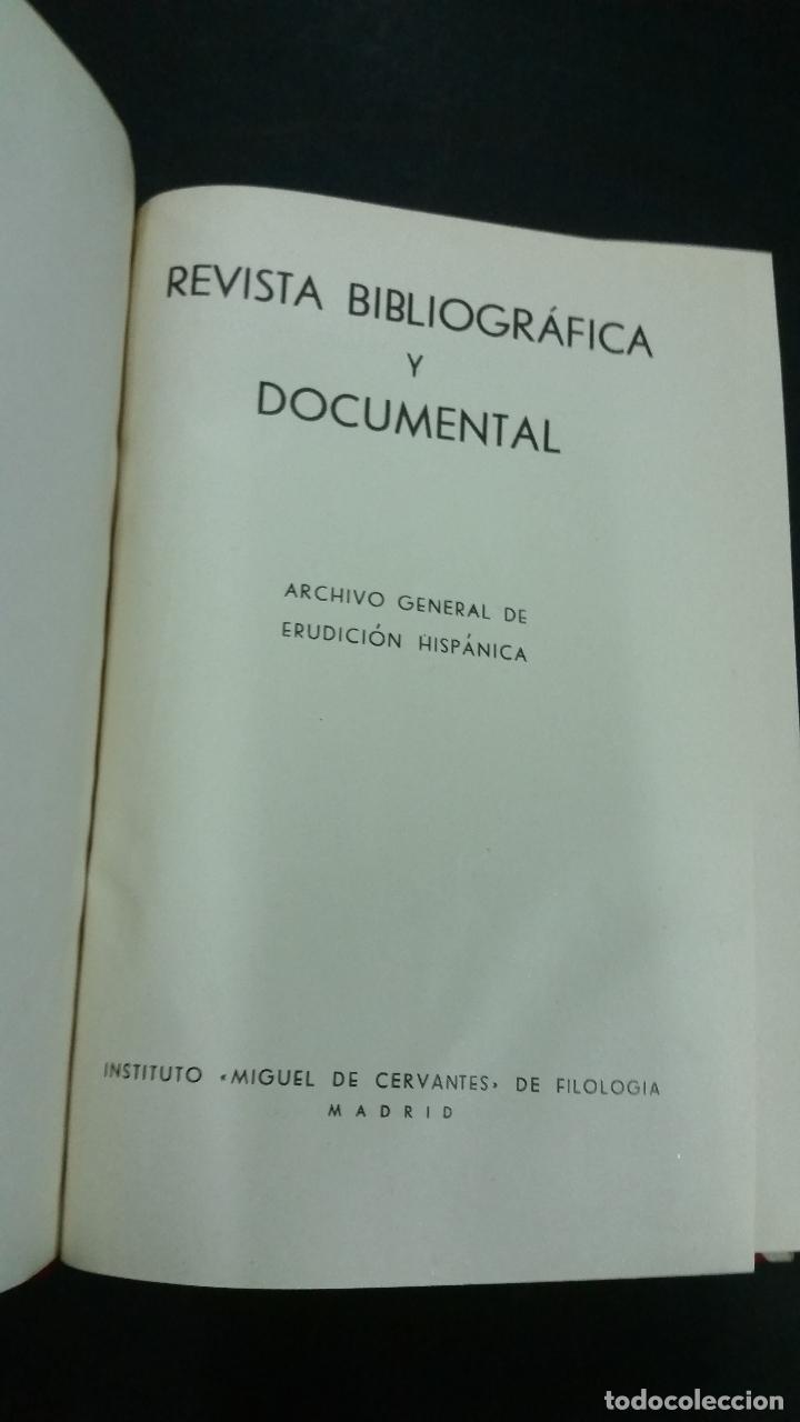 Libros de segunda mano: Revista Bibliográfica y Documental. Archivo general de erudición hispánica. Años 1947 a 1951 - Foto 5 - 269312083
