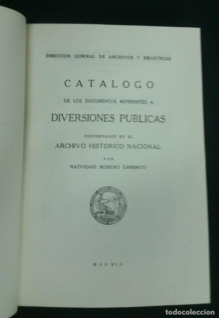 Libros de segunda mano: 1957 - MORENO GARBAYO - Catálogo de los documentos referentes a diversiones públicas - Foto 2 - 269442928