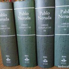 Libros de segunda mano: OBRAS COMPLETAS DE PABLO NERUDA. 4 VOLUMENES DE 5. EDITADO POR RBA. Lote 269959668