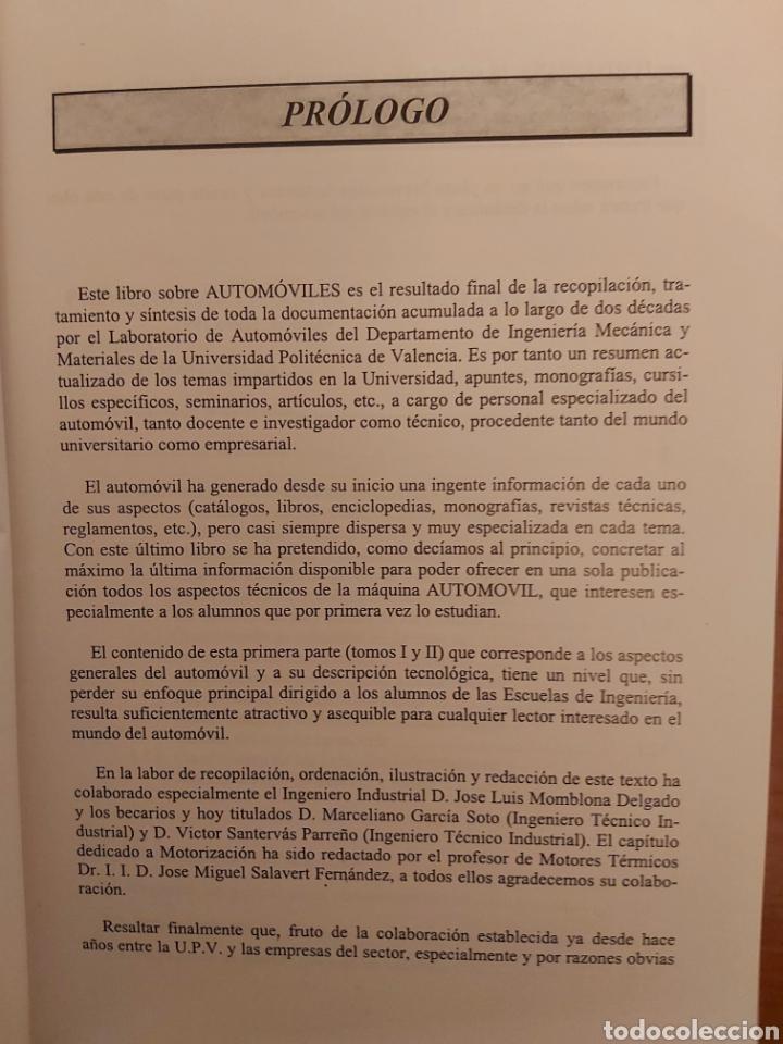 Libros de segunda mano: TRATADO SOBRE AUTOMÓVILES. TOMOS I y II. U.P.V - Foto 4 - 271157353