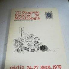 Libros de segunda mano: VII CONGRESO NACIONAL DE MICROBIOLOGÍA. CADIZ. 1979. PROGRAMA OFICIAL.. Lote 272859758