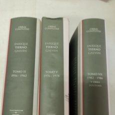 Libros de segunda mano: E. TIERNO GALVÁN: OBRAS COMPLETAS TOMO II, V, VII, 1956-62, 1976-78, 1982-86 Y OBRA PÓSTUMA.. Lote 273117613