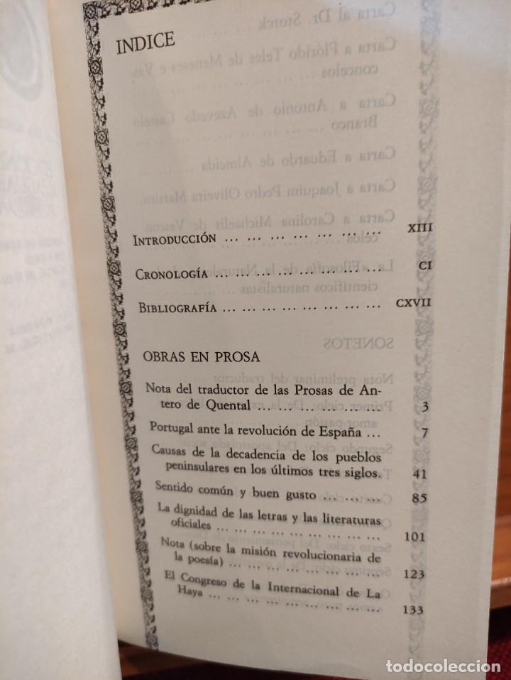 Libros de segunda mano: ANTERO DE QUENTAL - POESIAS Y PROSAS SELECTAS - BILINGÜE - CLASICOS ALFAGUARA - - Foto 3 - 276381303