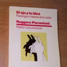 Libros de segunda mano: RUGGERO PIERANTONI - EL OJO Y LA IDEA. FISIOLOGÍA E HISTORIA DE LA VISIÓN - PAIDÓS, 1984. Lote 277178783