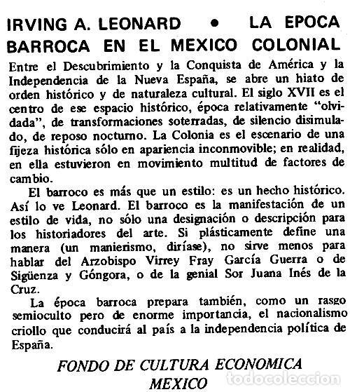 Libros de segunda mano: LE EPOCA BARROCA EN EL MEXICO COLONIAL. IRVING A. LEONARD. - Foto 2 - 277529553