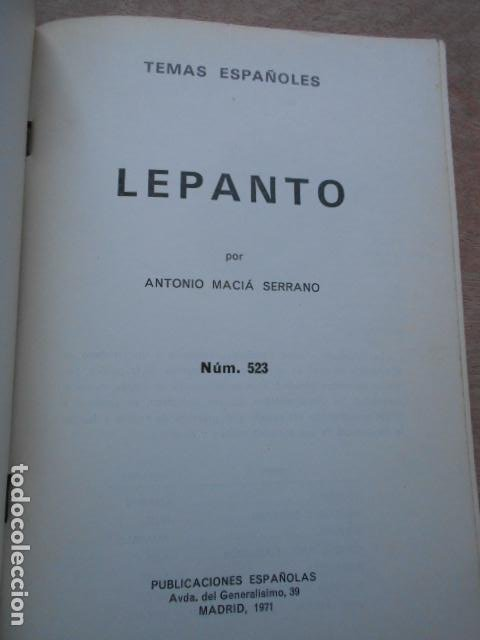 Libros de segunda mano: TEMAS ESPAÑOLES LEPANTO ANTONIO MACIÁ SERRANO - Foto 3 - 277706093