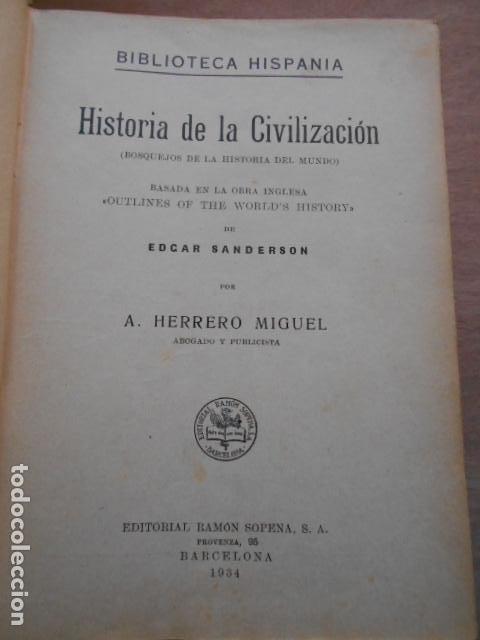 Libros de segunda mano: HISTORIA DE LA CIVILIZACIÓN 1934 - Foto 5 - 278163918