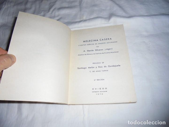 Libros de segunda mano: MELECINA CASERA.CUENTOS MEDICOS EN DIALECTO ASTURIANO.A.GARCIA OLIVEROS(AGO).OVIEDO 1970.-2ª EDICION - Foto 3 - 278291188