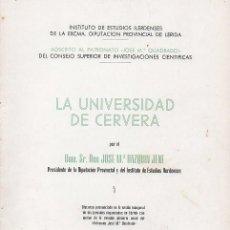 Libros de segunda mano: LA UNIVERSIDAD DE CERVERA. Lote 278886433
