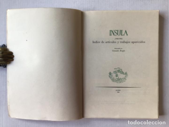 Libros de segunda mano: INSULA (1946-1956). Índice de artículos y trabajos aparecidos. Recopilado por... - BERGÉS, Consuelo. - Foto 2 - 123163987