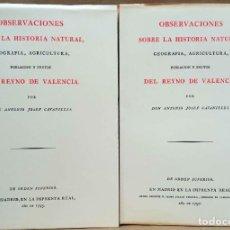 Libros de segunda mano: ANTONIO JOSEF CAVANILLES - OBSERVACIONES SOBRE LA HISTORIA NATURAL DEL REYNO DE VALENCIA. ALBATROS,. Lote 280111803