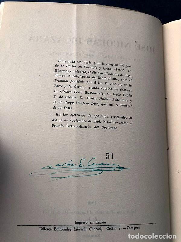 Libros de segunda mano: JOSÉ NICOLÁS DE AZARA / CARLOS E. CORONA BARATECH / IFC ZARAGOZA 1948 / FIRMA AUTOR / NUMERADO - Foto 4 - 280116888