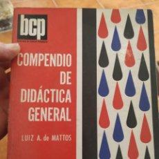 Libros de segunda mano: COMPENDIO DE DIDÁCTICA GENERAL, AÑO 1960. Lote 283931878