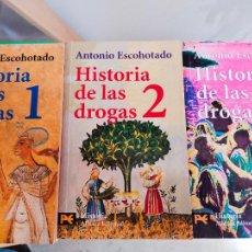 Libros de segunda mano: HISTORIA DE LAS DROGAS. ANTONIO ESCOHOTADO. 3 LIBROS. Lote 286592073
