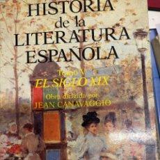 Libros de segunda mano: CANAVAGGIO, JEAN. - HISTORIA DE LA LITERATURA ESPAÑOLA. TOMO V: EL SIGLO XIX. Lote 287759148