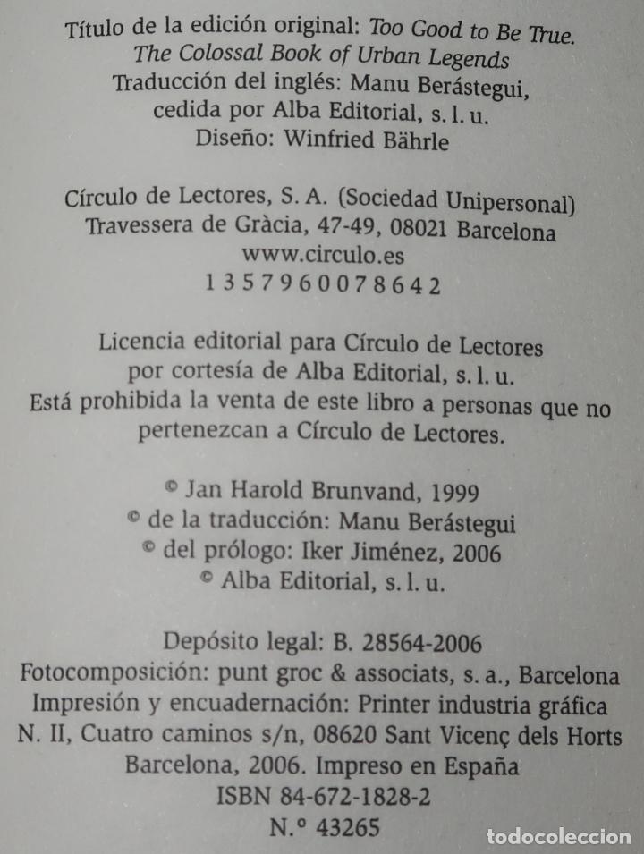 Libros de segunda mano: El fabuloso libro de las leyendas urbanavs - Jan Harold Brunvand - Círculo de lectores (2006) - Foto 2 - 288398733