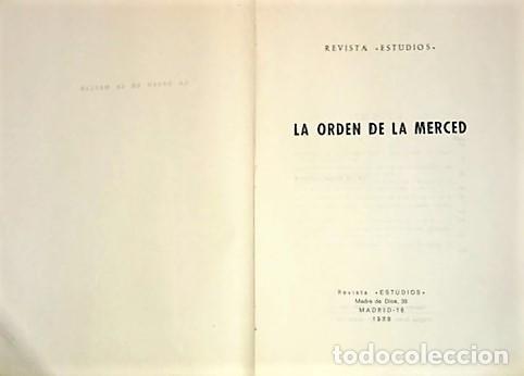 Libros de segunda mano: REVISTA ESTUDIOS LA ORDEN DE LA MERCED ... 1970 - Foto 2 - 288985228