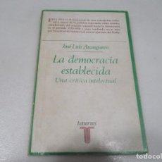Libros de segunda mano: JOSÉ LUIS ARANGUREN LA DEMOCRACIA ESTABLECIDA W9543. Lote 289812168