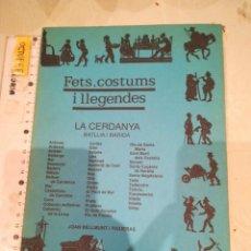 Libros de segunda mano: FETS, COSTUMS I LLEGENDES LA CERDANYA. Lote 293752303