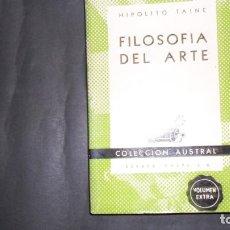 Libros de segunda mano: FILOSOFÍA DEL ARTE, HIPOLITO TAINE, ED. ESPASA CALPE. Lote 297156638