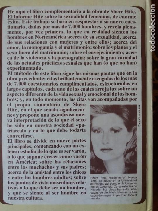 Libros: LIBRO. EL INFORME HITE SOBRE LA SEXUALIDAD MASCULINA. PLAZA Y JANES, PRIMERA EDICIÓN 1981 - Foto 2 - 217250575