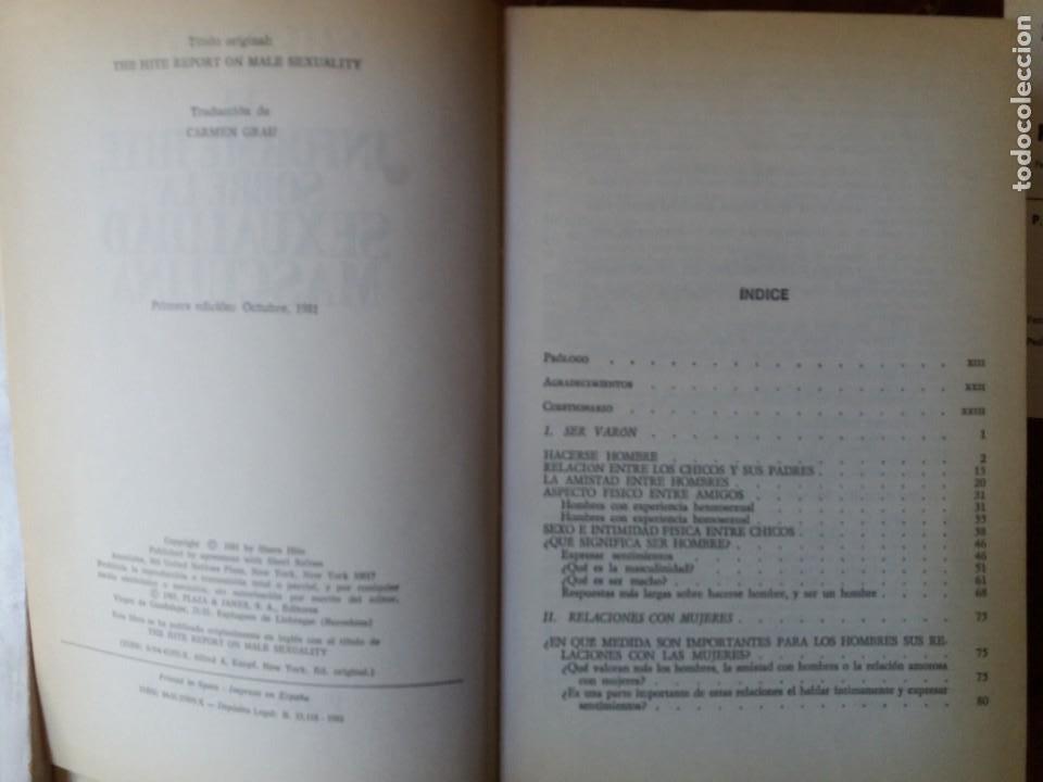 Libros: LIBRO. EL INFORME HITE SOBRE LA SEXUALIDAD MASCULINA. PLAZA Y JANES, PRIMERA EDICIÓN 1981 - Foto 3 - 217250575