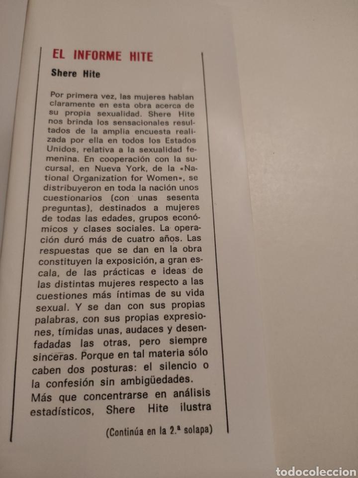 Libros: El informe Hite. Shere Hite. Primera edición 1977. - Foto 3 - 261993810