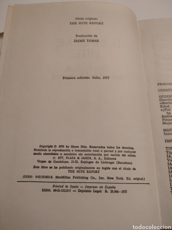 Libros: El informe Hite. Shere Hite. Primera edición 1977. - Foto 5 - 261993810
