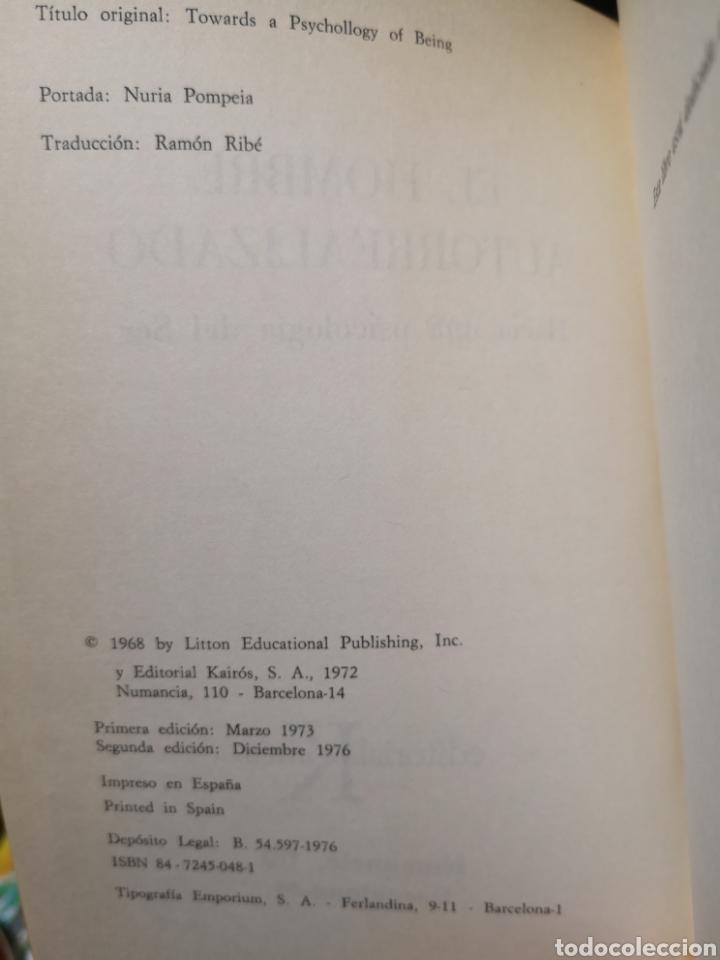 Libros: Abraham H. Maslow. El hombre autorrealizado. Portada Núria Pompeia, Trad. Ramon Ribé. Barcelona 1976 - Foto 5 - 155187966