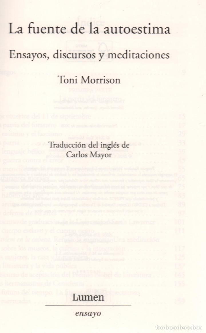 Libros: TONI MORRISON LA FUENTE DE LA AUTOESTIMA ENSAYOS DISCURSOS MEDITACIONES E LUMEN 2020 1ª EDICIÓN FAJA - Foto 3 - 213572496