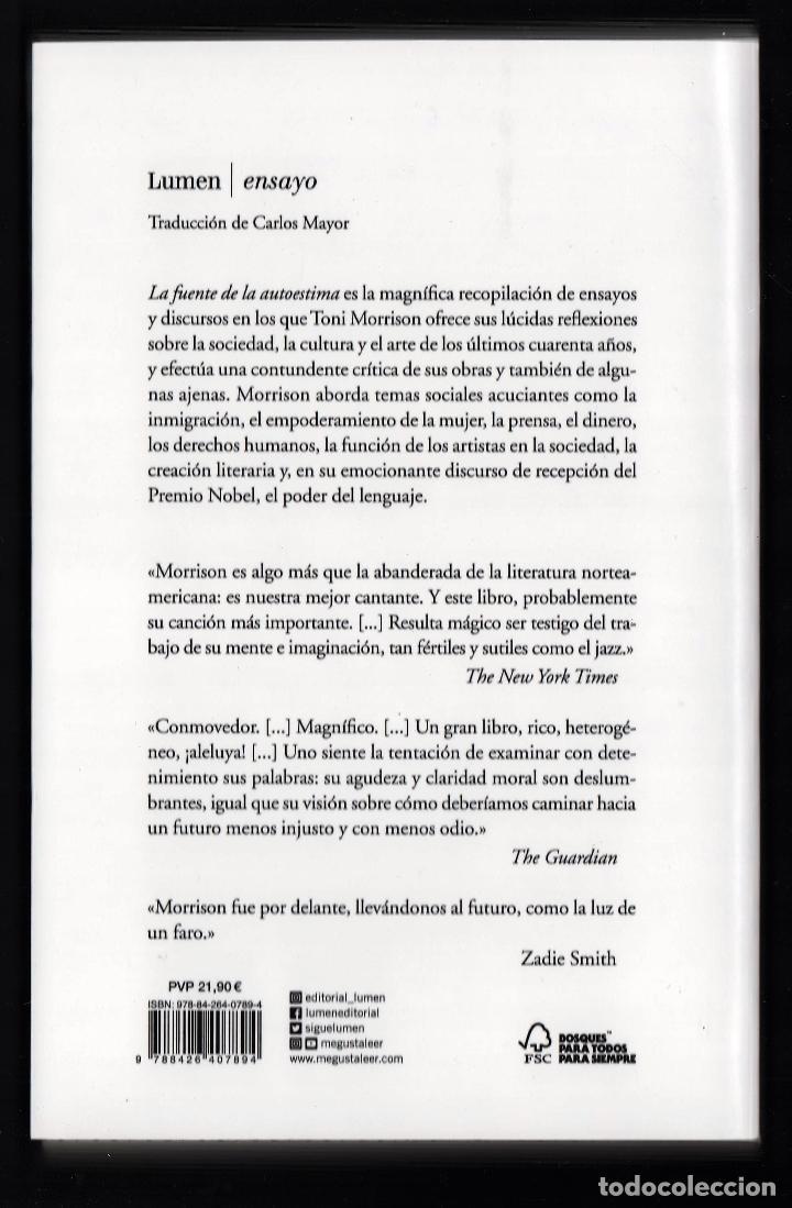 Libros: TONI MORRISON LA FUENTE DE LA AUTOESTIMA ENSAYOS DISCURSOS MEDITACIONES E LUMEN 2020 1ª EDICIÓN FAJA - Foto 8 - 213572496