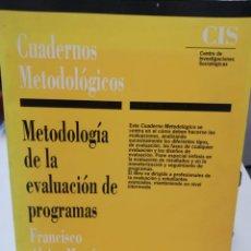 Libros: METODOLOGIA DE LA EVALUACION DE PROGRAMAS. Lote 221929523