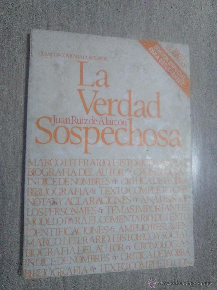 LA VERDAD SOSPECHOSA. JUAN RUIZ DE ALCARCON 1980. EDITORIAL PLAYOR (Libros Nuevos - Literatura - Teatro)
