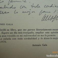 Libros: UN LIBRO DE MALAGA, POR J. CODESO, DEDICATORIA, Y DE ANTONIO GALA,. Lote 179524213