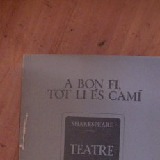 Libros: A BON FI, TOT LI ES CAMI.. SHAKESPEARE .EDITORIAL: INSTITUT DEL TEATRE, BARCELONA, 1980. Lote 287469263