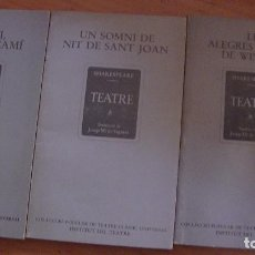 Libros: SHAKESPEARE .EDITORIAL: INSTITUT DEL TEATRE, BARCELONA, 1980 (3 LIBROS). Lote 287470323
