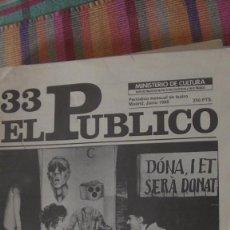 Libros: EL PÚBLICO. PERIODICO MENSUAL DE TEATRO. JUNIO 1986 / Nº 33. VV.AA. Lote 293816598