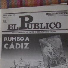 Libros: EL PÚBLICO. PERIODICO MENSUAL DE TEATRO. OCTUBRE 1988 / Nº 61. VV.AA. Lote 293818133