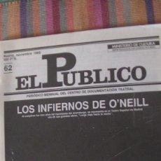 Libros: EL PÚBLICO. PERIODICO MENSUAL DE TEATRO. NOVIEMBRE 1988 / Nº 62. VV.AA. Lote 293818413