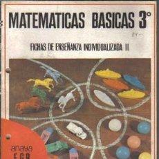 Libros de segunda mano: LIBRO DE FICHAS MATEMÁTICAS BÁSICAS 3º. Lote 21121397