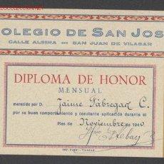 Libros de segunda mano: VALE DE PREMIO. DIPLOMA DE HONOR MENSUAL. COLEGIO DE SAN JOSÉ. IMPRENTA FORS. VILASAR, 1940.. Lote 26544515
