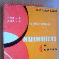 Libros de segunda mano: MATEMATICAS- 4º CURSO, EDITADO EN 1968, CON 255 PAGINAS. Lote 22374744