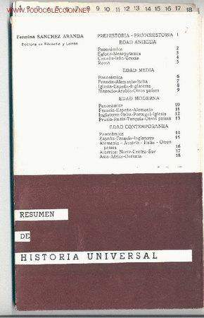 RESUMEN DE HISTORIA UNIVERSAL (18 FICHAS) -FERMINA SÁNCHEZ ARANDA- (AÑO 1974). ENVÍO: 2,50 € *. (Libros de Segunda Mano - Libros de Texto )