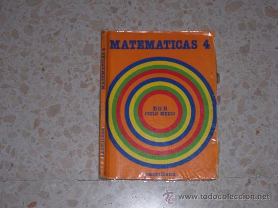 LIBRO TEXTO SANTILLANA, MATEMATICAS,4º EGB, 1985 (Libros de Segunda Mano - Libros de Texto )