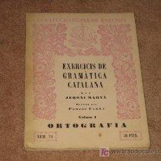 Libros de segunda mano: ANTIGUO LIBRO DEL 1956 , EJERCICIOS DE GRAMATICA CATALANA . Lote 14851082