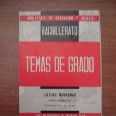 Libros de segunda mano: TEMAS DE GRADO BACHILLERATO -LENGUAS MODERNAS . Lote 24926022