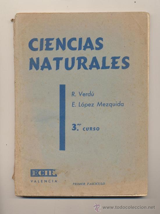 CIENCIAS NATURALES 3ER CURSO. ECIR - VALENCIA 1961. (Libros de Segunda Mano - Libros de Texto )