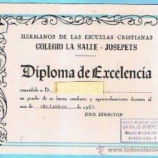 Libros de segunda mano: VALE DE PREMIO ESCOLAR. DIPLOMA DE EXCELENCIA. COLEGIO LA SALLE - JOSEPETS. BARCELONA, 1965.. Lote 32302852
