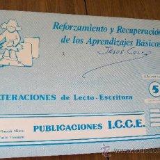 Libros de segunda mano: ALTERACIONES DE LECTO - ESCRITURA- 5 SEGUIMIENTO-I.C.C.E. PUBLICACIONES-1987. Lote 32829314